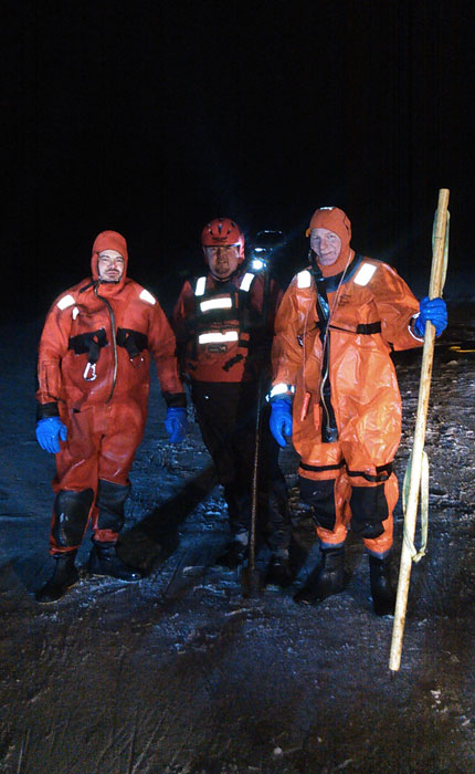 Night Ice Rescue Drill Training